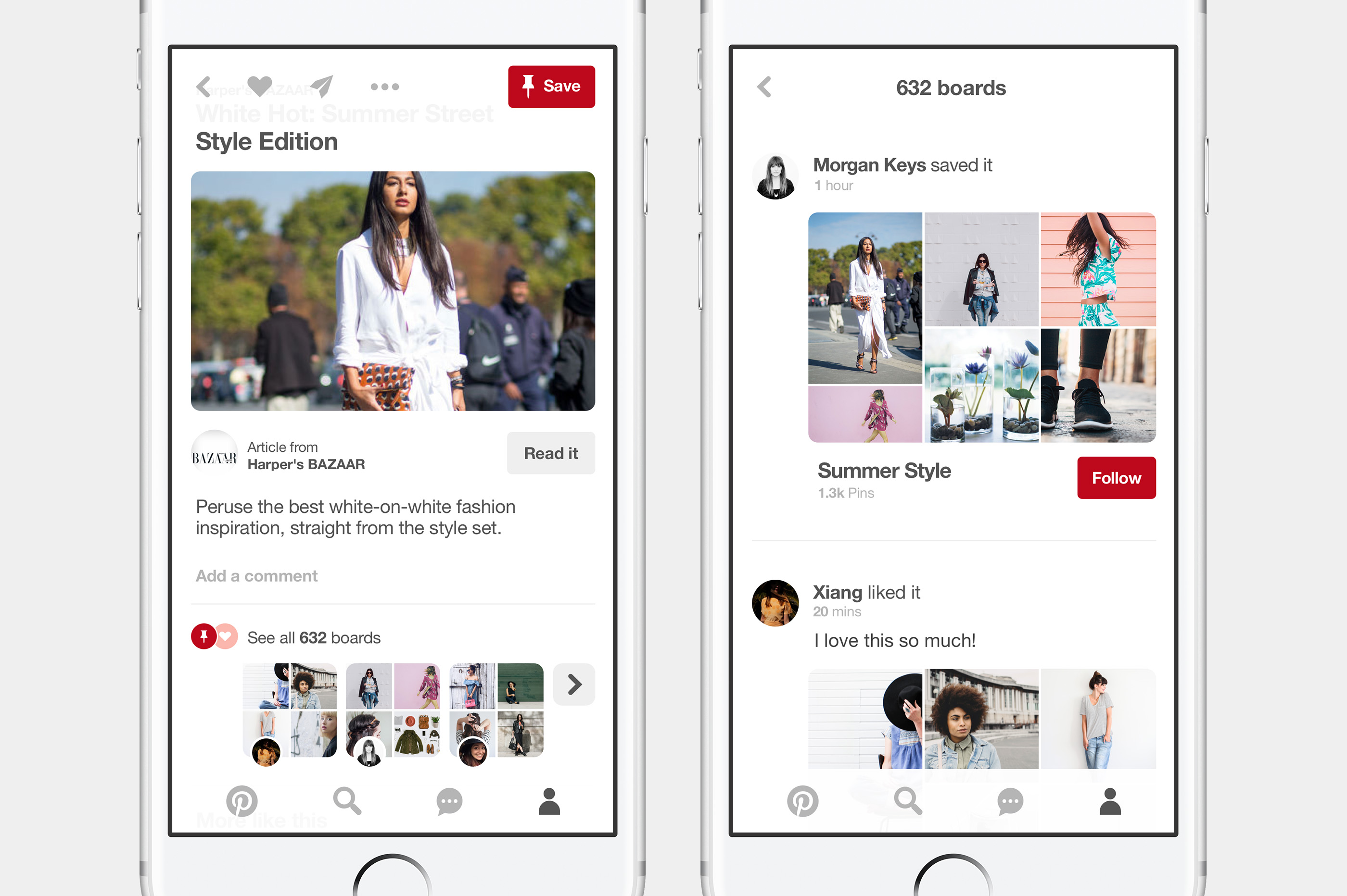 Pinterest app screen