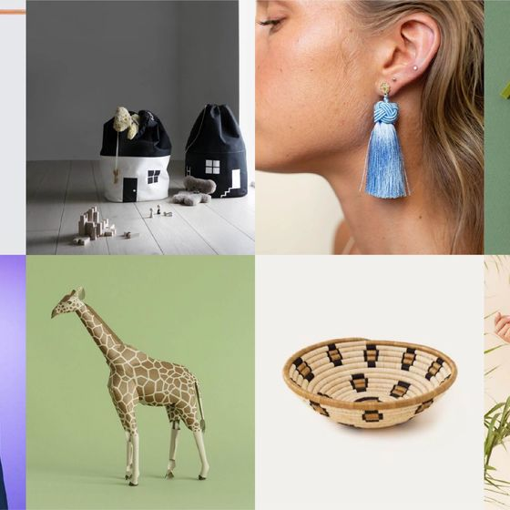 Photo of 8 products sold on the Pinterest Shop (carpet, toy, earring, basket, bag, coat, toy giraffe)